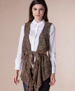 Vesta maro cu franjuri din tricot 14777 - Veste -
