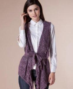 Vesta mov cu franjuri din tricot 14777 - Veste -