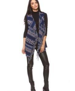 Vesta tricotata cu franjuri 14778 bleumarin - Veste -