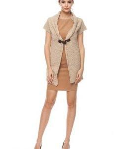 Vesta tricotata din lana 8F.446 bej - Veste -