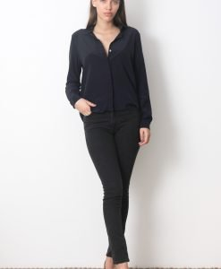 Camasa &Other Stories Navy Silk - FEMEI - CAMASI DAMA