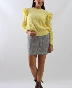 Fusta tricotata gri - 75% OFF - 75% OFF