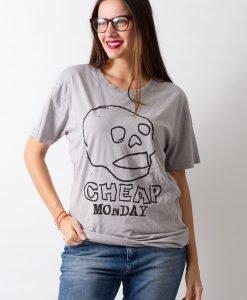 Tricou Cheap Monday Skull gri - FEMEI - TRICOURI DE DAMA