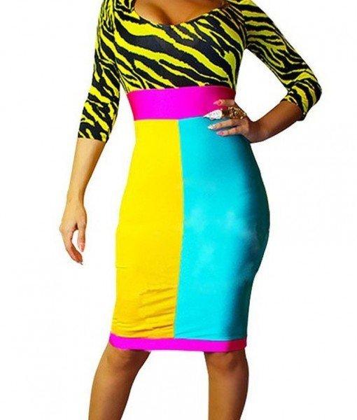 A348 Rochie sexi cu print colorat – Rochii de club – Haine > Haine Femei > Rochii Femei  > Rochii de club