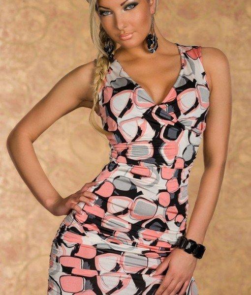 B194-19 Rochie sexy de vara cu print colorat – Rochii de club – Haine > Haine Femei > Rochii Femei > Rochii de club