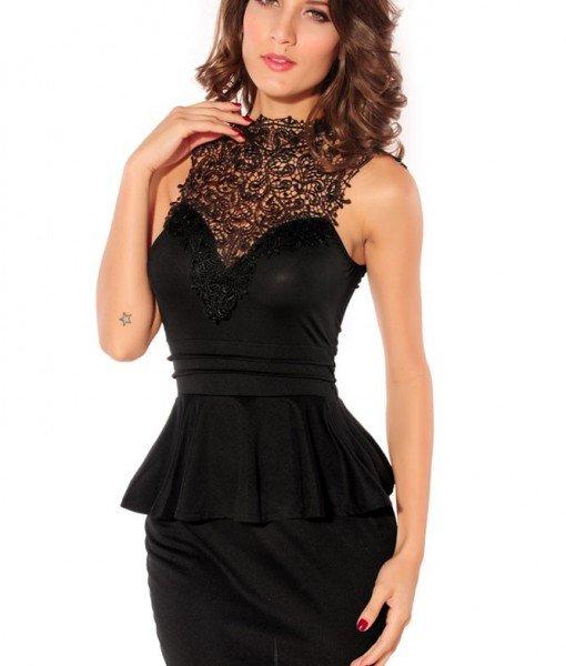 B197-1 Rochie neagra cu peplum si model brodat – Rochii de seara – Haine > Haine Femei > Rochii Femei  > Rochii de seara