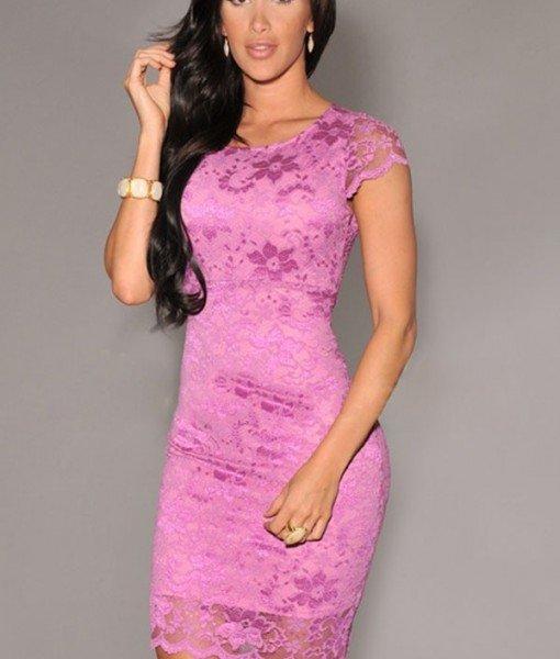 B265-55 Rochie conica roz cu dantela si captuseala – Rochii cu dantela – Haine > Haine Femei > Rochii Femei  > Rochii de seara > Rochii cu dantela