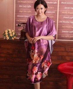 B356-10 Lenjerie desu larg tip kimono cu model floral - Halate - Haine > Haine Femei > Lenjerie intima > Halate