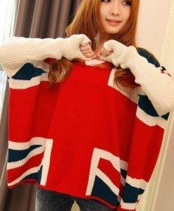 BAN221 Bluza tip poncho cu steagul UK - Bluze - Haine > Haine Femei > Bluze