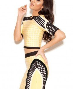 BAN238-9 Compleu bandage din top cu maneci scurte si fusta medie cu model - Top si fusta - Haine > Haine Femei > Compleuri > Top si fusta