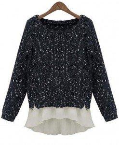 BL221-1 Bluza casual cu voal in partea inferioara - Bluze - Haine > Haine Femei > Bluze > Bluze