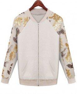 BL234-2 Bluza roling cu fermoar in fata si maneci lungi accesorizate cu paiete - Geci si Paltoane - Haine > Haine Femei > Geci si Paltoane