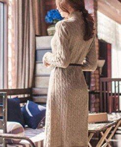 BL254-14 Rochie tricotata cu maneci lungi - Rochii midi - Haine > Haine Femei > Rochii Femei  > Rochii de club > Rochii midi