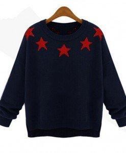 BL268-44 Bluza cu guler rotund si model stelute - Bluze - Haine > Haine Femei > Bluze