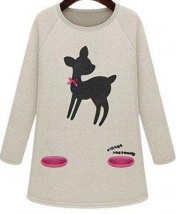 BL273-15 Bluza cu maneci lungi si imprimeu caprioara - Bluze - Haine > Haine Femei > Bluze > Bluze