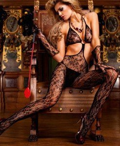 BS142-1 Bodystocking cu decupaje si model floral - Bodystockings