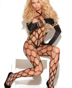 BS173-1 Bodystocking sexy din plasa cu prindere dupa gat - Bodystockings