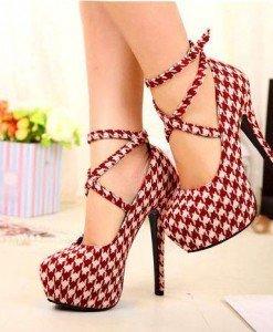 CH2268 Pantofi cu toc si model in carouri - Pantofi Dama - Incaltaminte > Incaltaminte Femei > Pantofi Dama