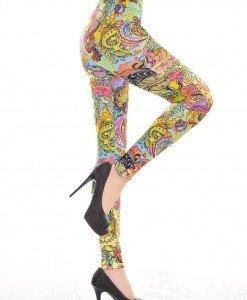 CL299 Colanti cu talie normala si model colorat - Colanti - Haine > Haine Femei > Pantaloni Dama > Colanti
