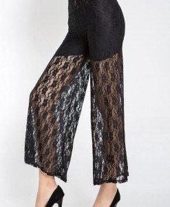 CL371-1 Pantaloni largi cu dantela transparenta - Pantaloni Lungi - Haine > Haine Femei > Pantaloni Dama > Pantaloni Lungi