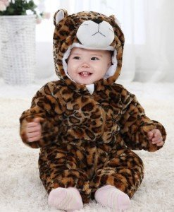 CLD38-99 Salopeta leorpard pentru copii cu material triplu polar - Costume tematice - Haine > Haine Copii > Costume tematice