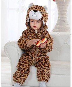 CLD39-99 Salopeta leorpard pentru copii cu material dublu polar - Costume tematice - Haine > Haine Copii > Costume tematice