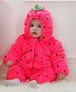 CLD48-55 Salopeta capsunica roz pentru copii - Costume tematice - Haine > Haine Copii > Costume tematice