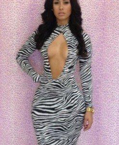E302-99 Rochie mulata cu model zebra - Rochii de club - Haine > Haine Femei > Rochii Femei > Rochii de club