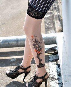 F129 Ciorapi treisfert cu tatuaj - Ciorapi cu tatuaj - Haine > Haine Femei > Ciorapi si manusi > Ciorapi cu tatuaj