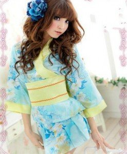 F354-4 Lenjerie tip kimono cu print floral - Halate - Haine > Haine Femei > Lenjerie intima > Halate