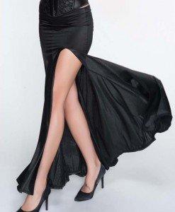 FS69-1 Fusta lunga eleganta cu crapatura pe picior - Fuste - Haine > Haine Femei > Fuste