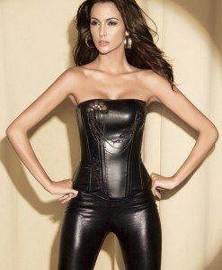 G96 Corset din imatie piele accesorizat cu margele - Corsete - Haine > Haine Femei > Corsete > Corsete