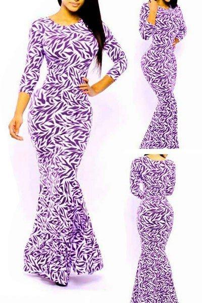 H340-11 Rochie lunga tip sirena cu print colorat – Rochii lungi – Haine > Haine Femei > Rochii Femei > Rochii de club > Rochii lungi