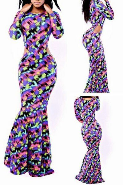 H346 Rochie lunga tip sirena cu model graffiti – Rochii lungi – Haine > Haine Femei > Rochii Femei > Rochii de club > Rochii lungi