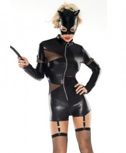 J109 Costum Halloween salopeta CatWoman - Feline - Haine > Haine Femei > Costume Tematice > Animalute > Feline