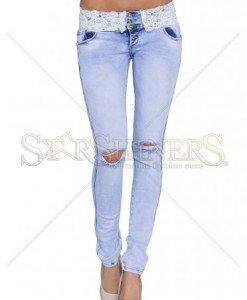 Jeans Laced Waist Blue - Blugi -