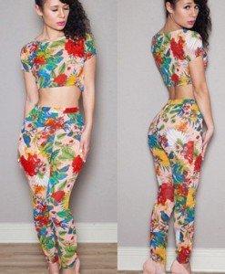 K279 Set top si pantaloni cu print colorat - Top si pantaloni - Haine > Haine Femei > Compleuri > Top si pantaloni