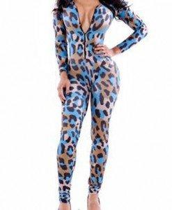 K330-4 Salopeta lunga cu model leopard - Salopete lungi - Haine > Haine Femei > Salopete > Salopete lungi