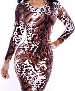 K349-99 Rochie mini cu maneci lungi si model animal print - Rochii de club - Haine > Haine Femei > Rochii Femei > Rochii de club