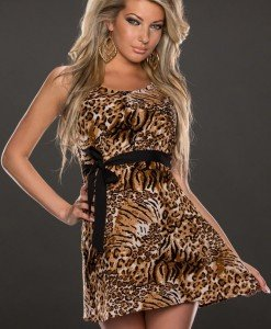 N285-99 Rochie model leopard cu fundita in talie - Rochii scurte - Haine > Haine Femei > Rochii Femei > Rochii de club > Rochii scurte