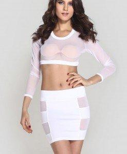 N330-2 Compleu top transparent si fusta mini cu decupaje din plasa - Top si fusta - Haine > Haine Femei > Compleuri > Top si fusta
