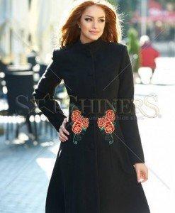 Palton StarShinerS Brodat Rose Mystery Black - Paltoane -