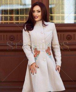 Palton StarShinerS Brodat Rose Mystery Cream - Paltoane -