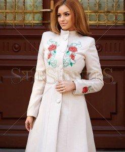 Palton StarShinerS Brodat Rose Spirit Cream - Paltoane -