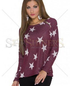 Pulover Starfall Night Burgundy - Pulovere -