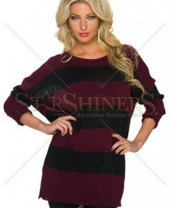 Pulover Stripped Look Burgundy - Pulovere -