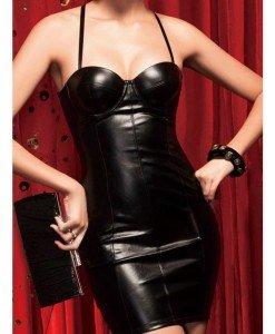 Q226 Rochie scurta imitatie piele - Rochii - Haine > Haine Femei > Costume latex si PVC > Rochii