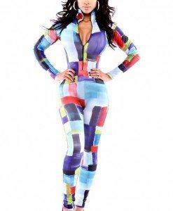 Q308 Salopeta lunga cu model colorat - Salopete lungi - Haine > Haine Femei > Salopete > Salopete lungi
