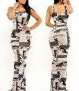 R335 Rochie lunga stil sirena cu print ziar - Rochii lungi - Haine > Haine Femei > Rochii Femei > Rochii de club > Rochii lungi