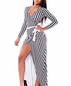 R377-1122 Rochie lunga sexy cu maneci lungi
